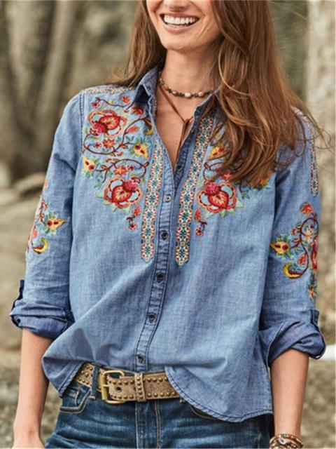 Embroidered Lapel Long Sleeve Blouse