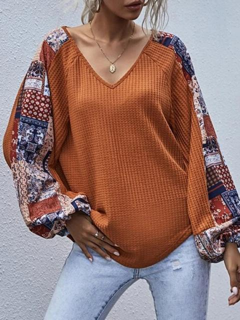 Floral Print Sleeve Stitching Waffle Loose Top