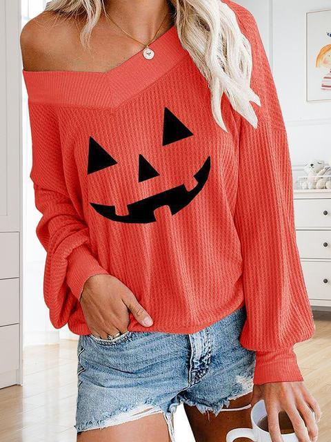 Halloween Pumpkin Print Loose V-neck Top