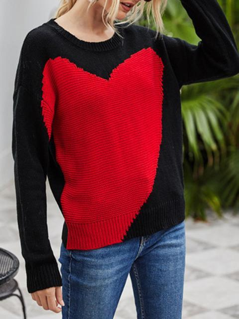 Heart Print Knitted Base Sweater