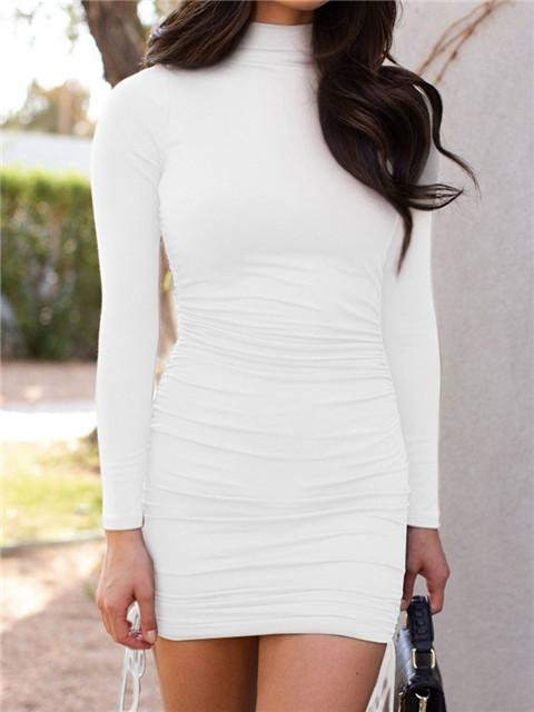 Solid High Neck Drawstring Long Sleeve Dress