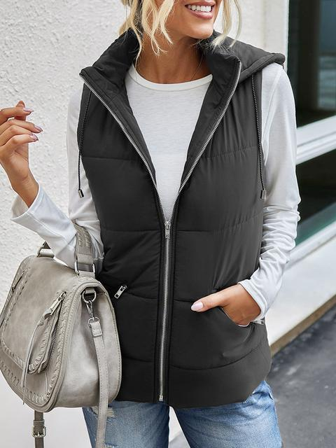 Hooded Zipper Vest Down Jacket