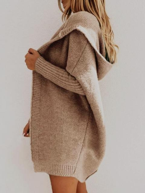 Knit Cardigan Mid-length Hooded Coat