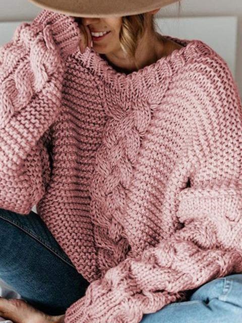 Knitted Twist Sweater Solid Color Top