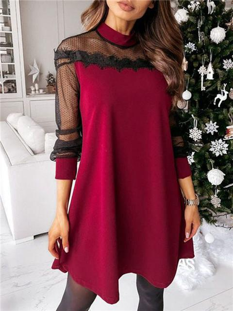 Lace Mesh Stitching Long Sleeve Loose Dress