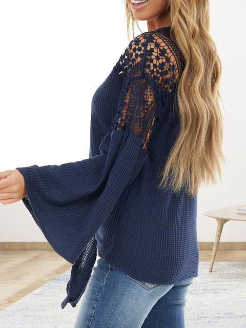 Lace Stitching Flared Sleeve Waffle Top