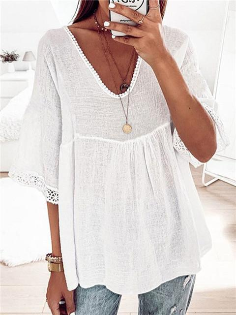 Lace Stitching Half Sleeve Loose Blouse