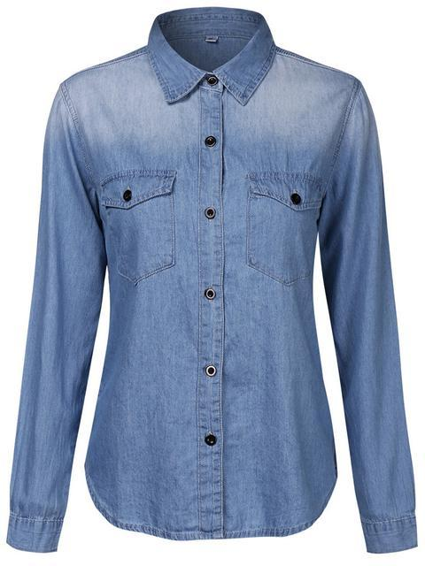 Lapel Long Sleeve Denim Shirt With Pocket