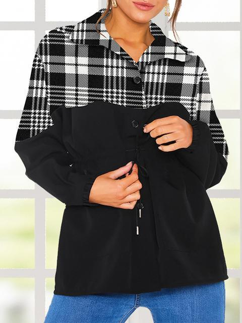 Lapel Plaid Patchwork Casual Coat
