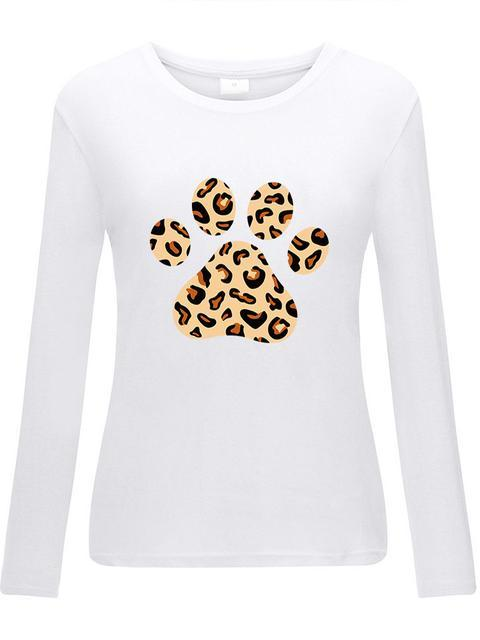 Leopard Foot Print Long Sleeve Top