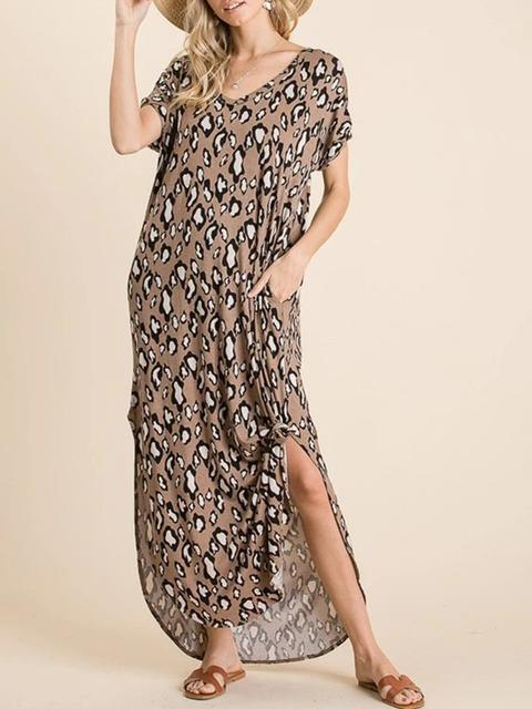 Leopard Hem Split Long Dress With Pocket