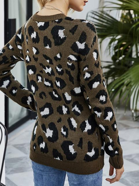 Leopard Hollow V-neck Pullover Sweater