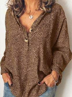 Leopard Long Sleeve Button V-Neck Shirt
