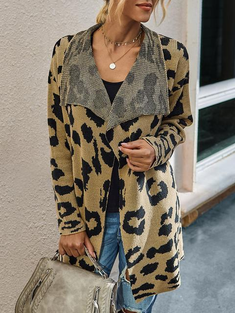 Leopard Long Sleeve Lapel Sweaters Coat