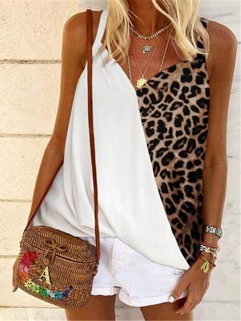 Leopard Patchwork V-neck Sleeveless Camis
