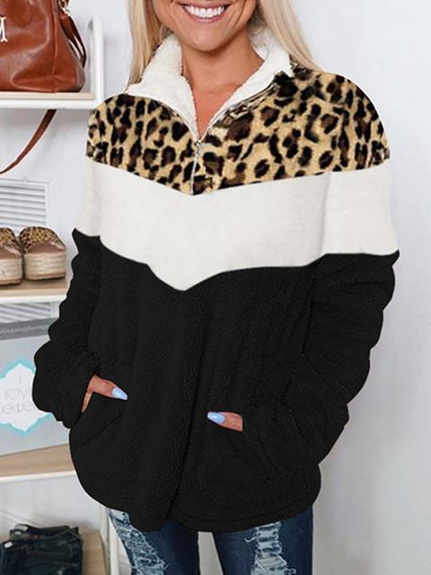Leopard Print Contrast Stitching Lapel Fleece Coat