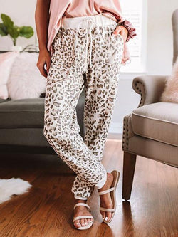 Leopard Print Drawstring Casual Trousers