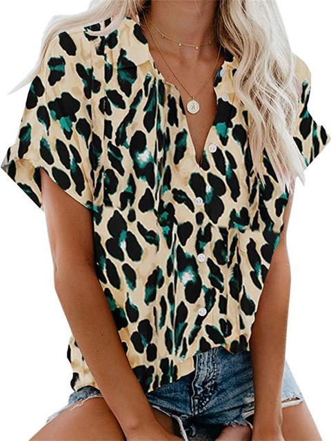 Leopard Print Lapel Button Shirt Top