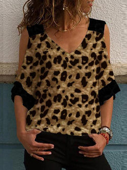 Leopard Print Stitching Cold Shoulder T-shirt