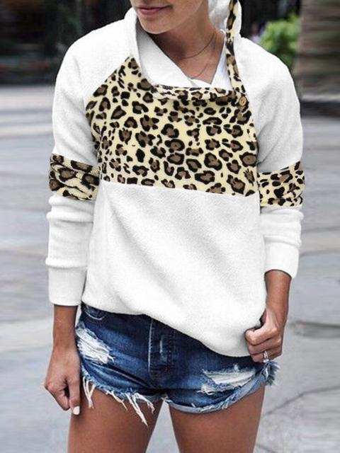 Leopard Print Stitching Long-sleeved Sweatshirt