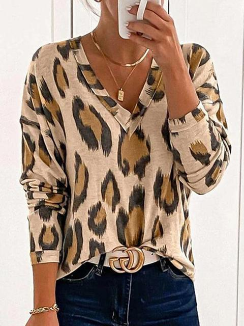 Leopard Print V-neck Long Sleeve T-shirt
