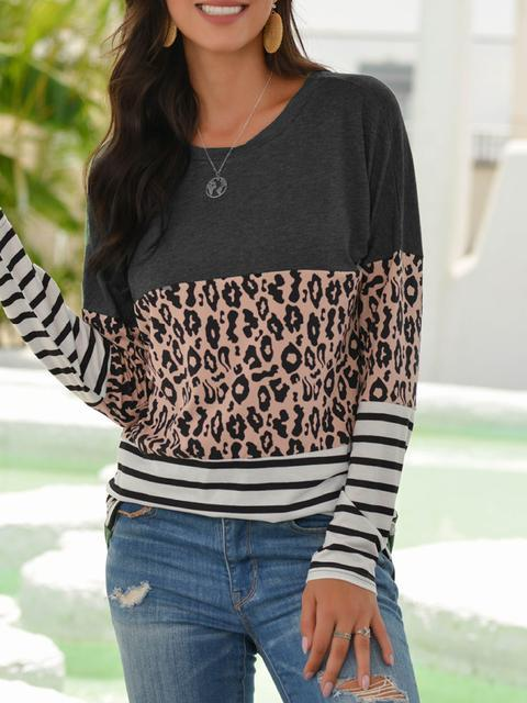 Leopard Splicing Striped Print Long Sleeve T-shirt