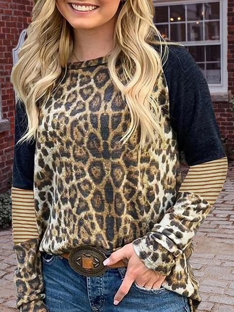 Leopard Stitching Striped Print Long Sleeve Top