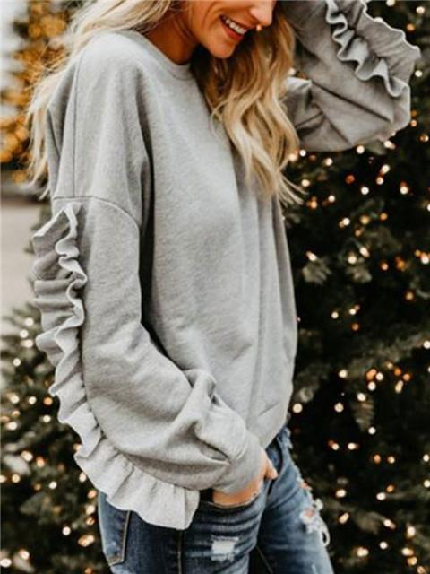 Fungus Long Sleeve Solid Color Pullover
