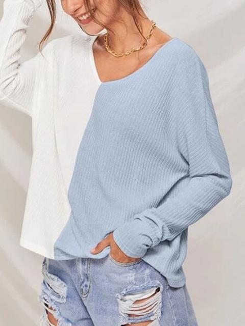 Loose Contrast Stitching V-neck Casual Top