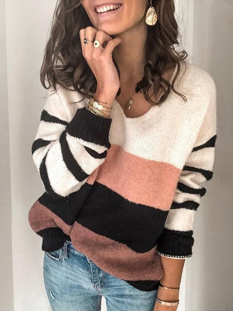 Loose V-neck Striped Knit Sweater
