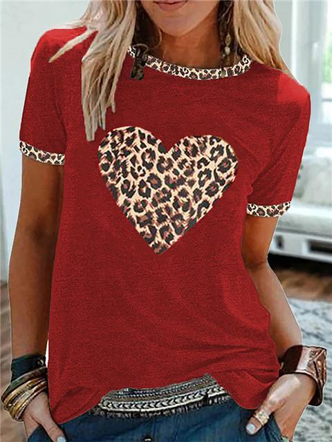 Love Leopard Print Short Sleeve Basic T-shirt