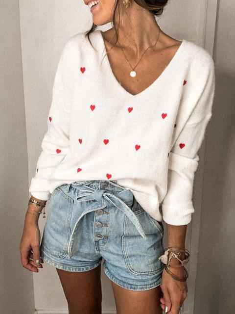 Love Polka Dot V-Neck Knit Sweater