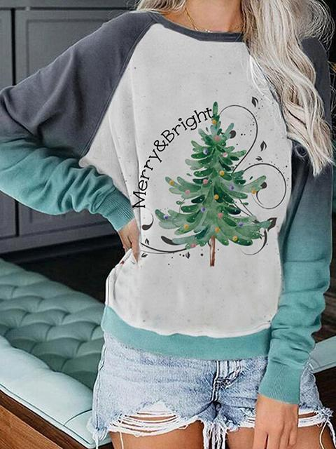 Merry & Bright Christmas Tree Gradient Sweatshirt