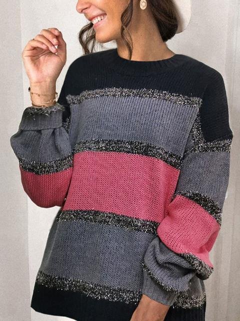 Multicolor Stitching Loose Sweater