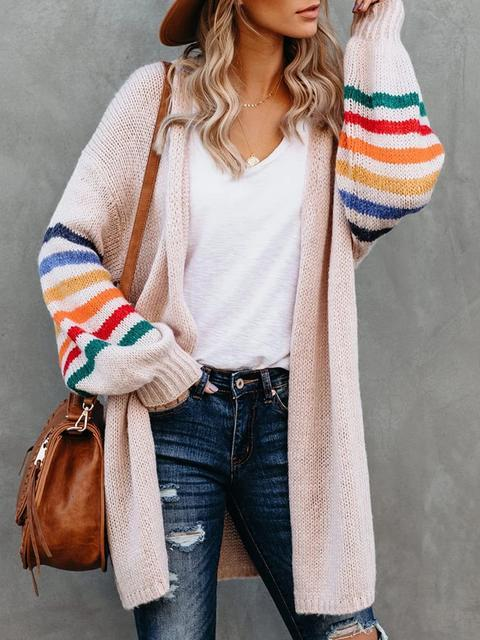 Multicolor Striped Sleeves Loose Knit Coat