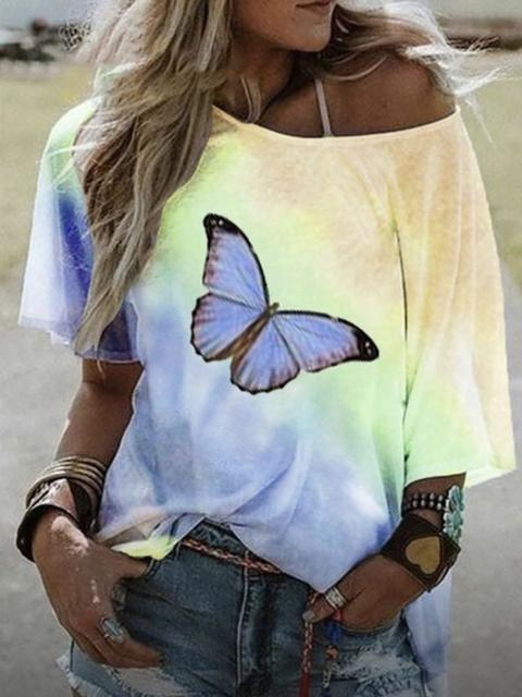 Ombre Butterfly Printed Short Sleeve T-shirt