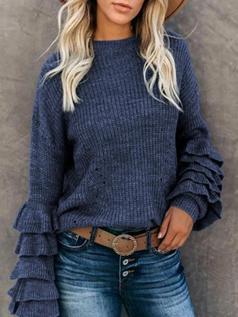 Petal Sleeve Casual Solid Color Sweater