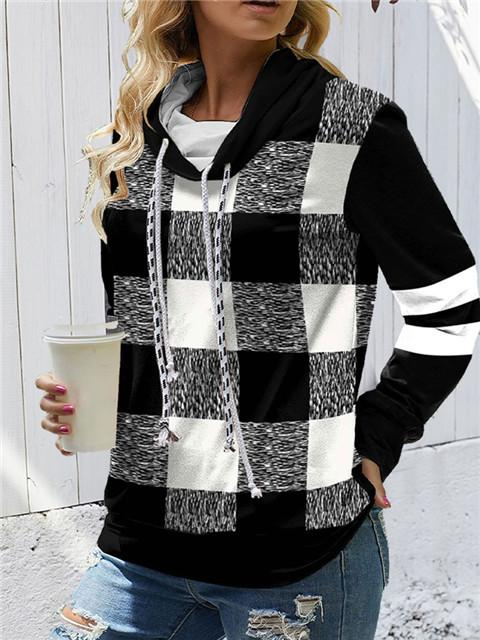 Plaid Long Sleeve Contrast Drawstring Sweatshirt