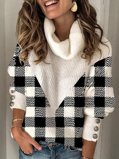 Plaid Print Knit Casual Pullover Sweater