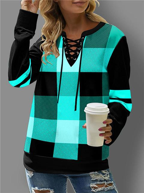 Plaid Print Lace Up Long Sleeve Sweatshirt