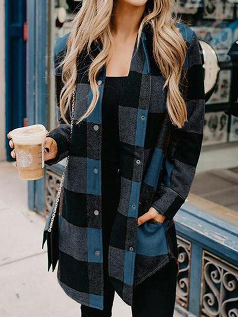 Plaid Printed Lapel Long-sleeved Coat