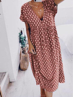 Polka Dot Printed V-neck Maxi Dress