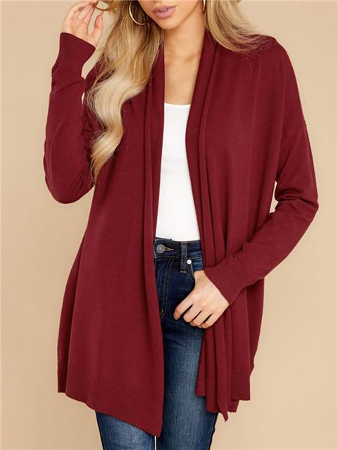 Pure Color Fashion Knit Cardigan