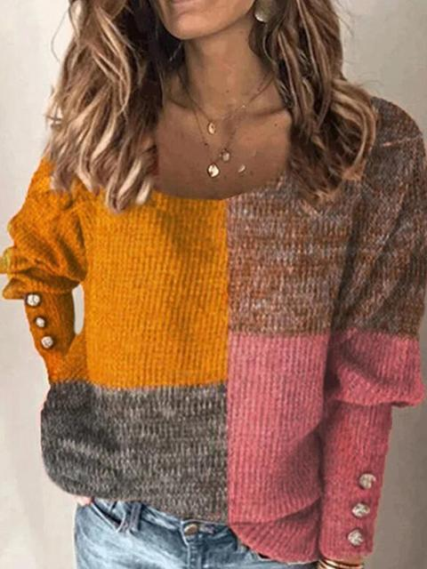 Round Neck Contrast Pulloves Sweater