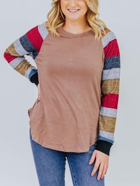 Round Neck Contrast Stripe Basic Top