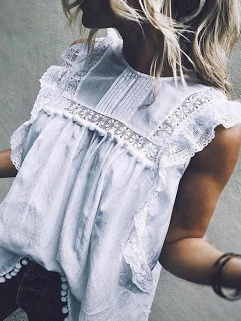 Round Neck Sleeveless Floral Lace Top