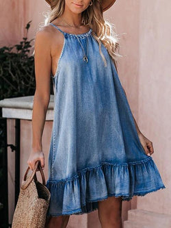 Backless Halter Denim Mini Dress