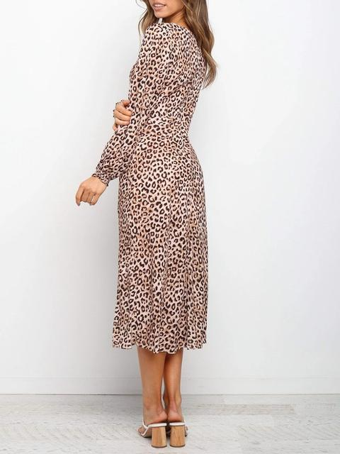 Leopard Printed V Neck Long Dress