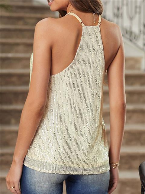Sequine Solid Color V-neck Camisole