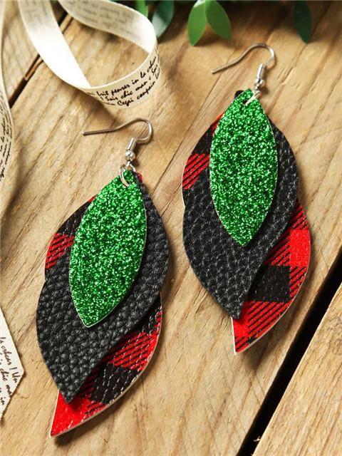 Sequined Plaid Leaf Earrings